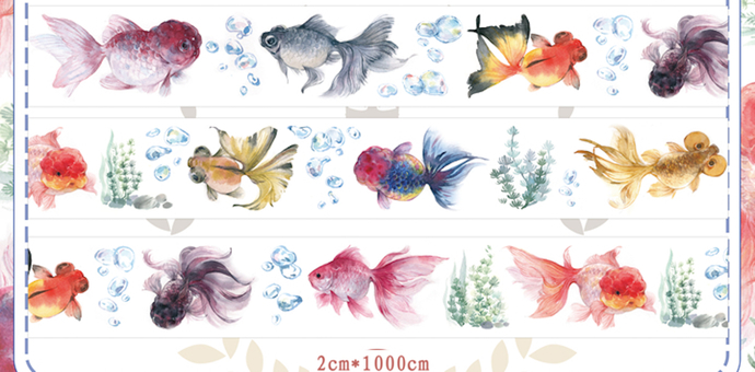 1 Roll of Limited Edition  Washi Tape- Goldfish
