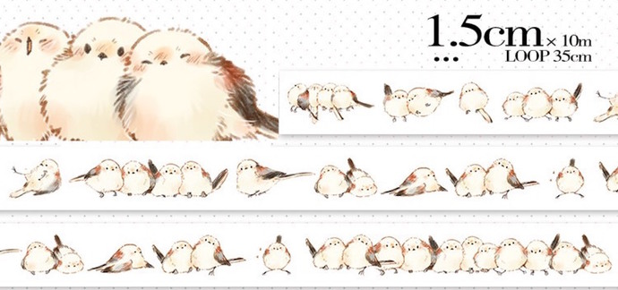 1 Roll of Limited Edition Washi Tape: Long-tailed tit Cute Birds
