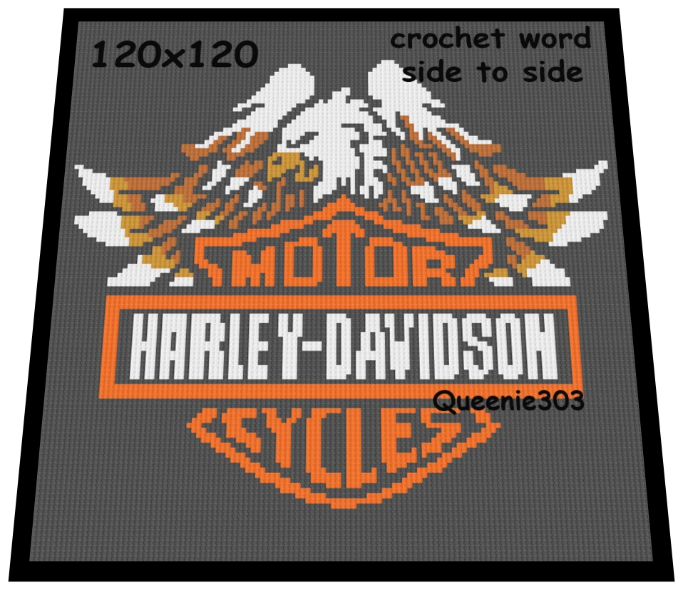 Harley By Relaxing With Crochet Graphing And Latch Hooking On Zibbet