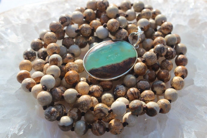 Long double wrap beaded Necklace with pendant Browns Jasper & Boulder Chyrophase