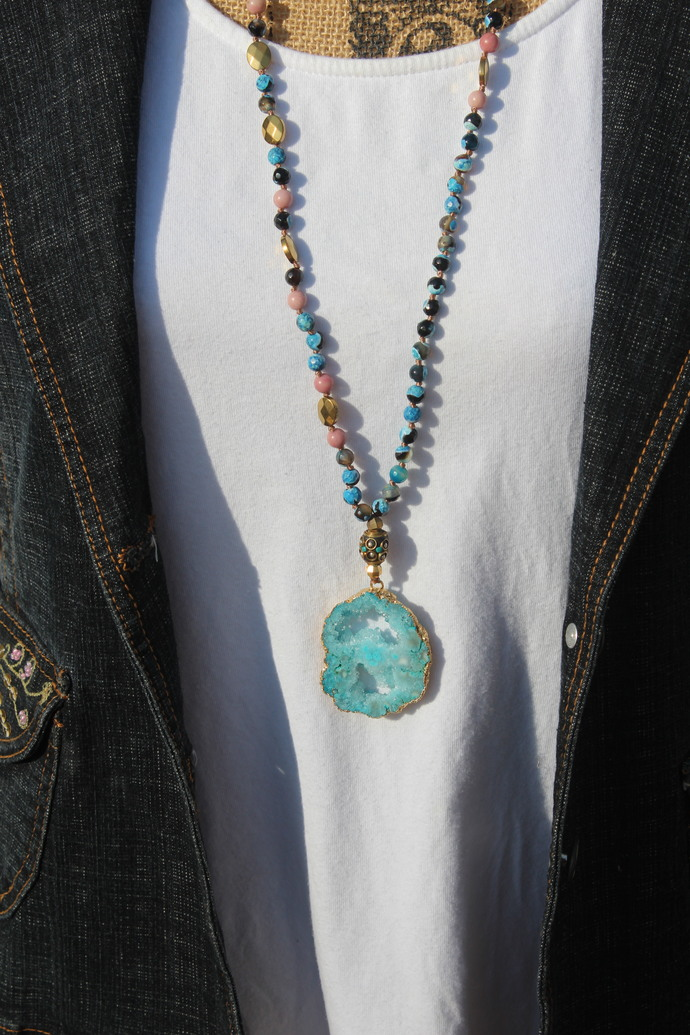 ON SALE: Long Beaded Necklace with Druzy Pendant Hand knot Bohemian Style