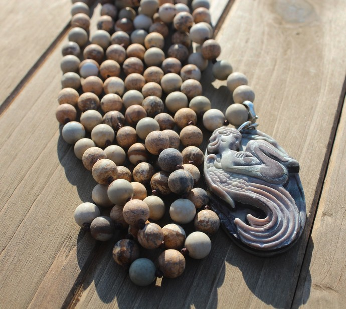 Long Double Wrap Earth tone Necklace with Carved jasper Fairy pendant Gemstone