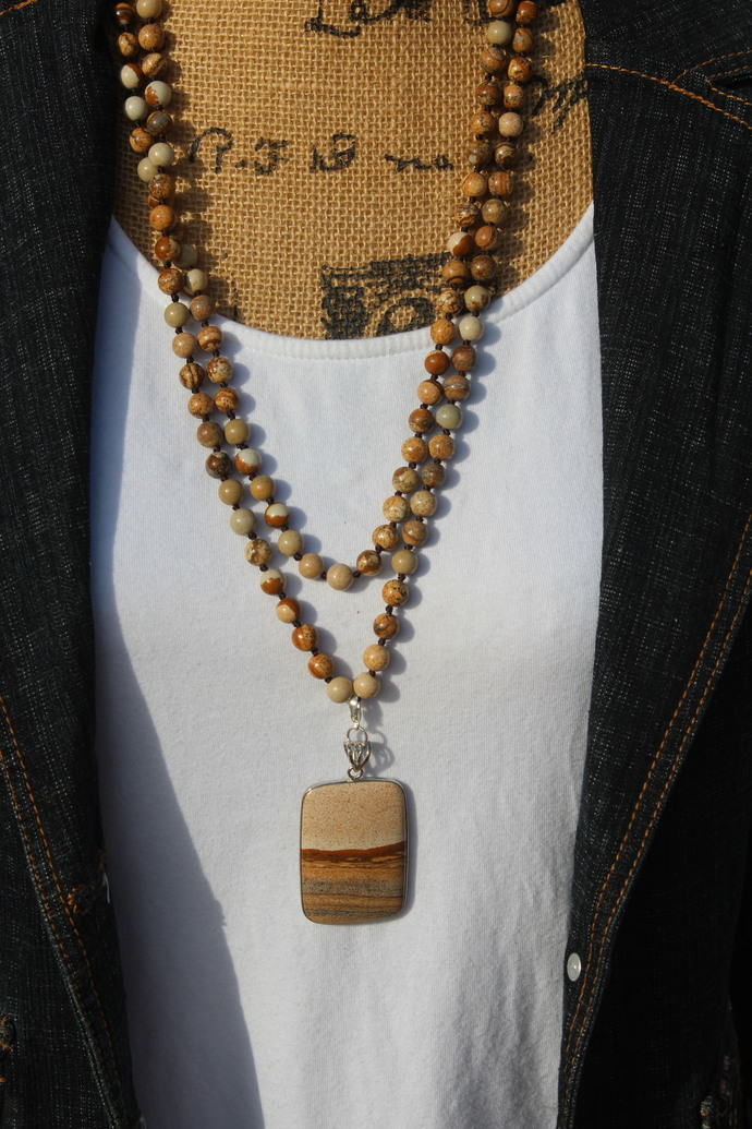 Long Double wrap Beaded Necklace with pendant Brown Jasper Earth Stone Jewelry