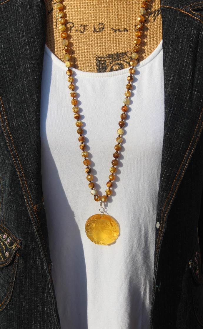 The Happy Buddha Long Beaded Necklace with Pendant Bohemian style Jewelry for