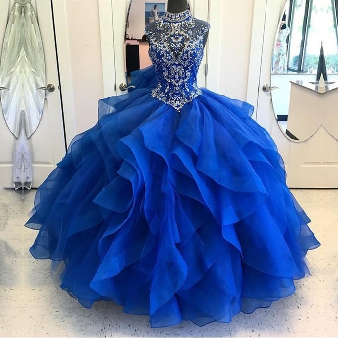 High Neck Crystal Beaded Bodice Organza Layered Quinceanera Dresses Ball Gowns