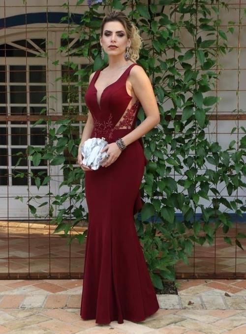 3412db48b2d Burgundy V-Neck Backless Prom Dresses