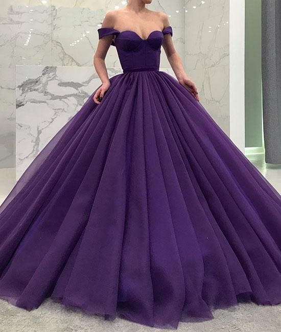 Elegant Off Shoulder Ball Gown Prom Dresses, Tulle Evening Dresses, Sweet 16
