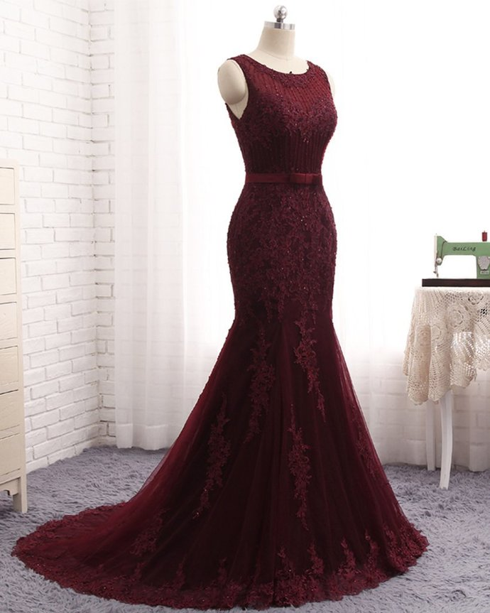 Mermaid Burgundy Real Made Prom Dresses,Fancy Dresses,Prom Dress,Prom
