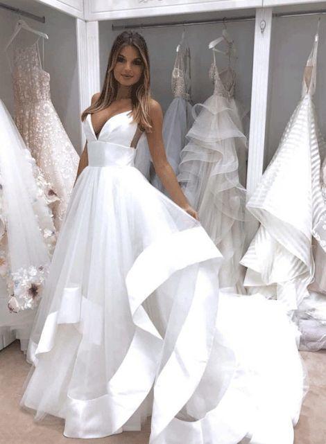 white v neck tulle sequins long prom dress, evening dress