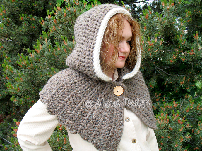 Hooded Cowl Crochet Hooded Cowl with Wood Button Fastening Women Cowl Round Back