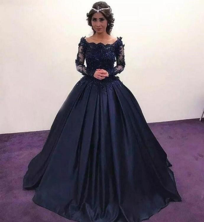 Summer Fall Navy Blue Long Sleeve Prom Dresses Bateau Lace Satin masquerade Ball