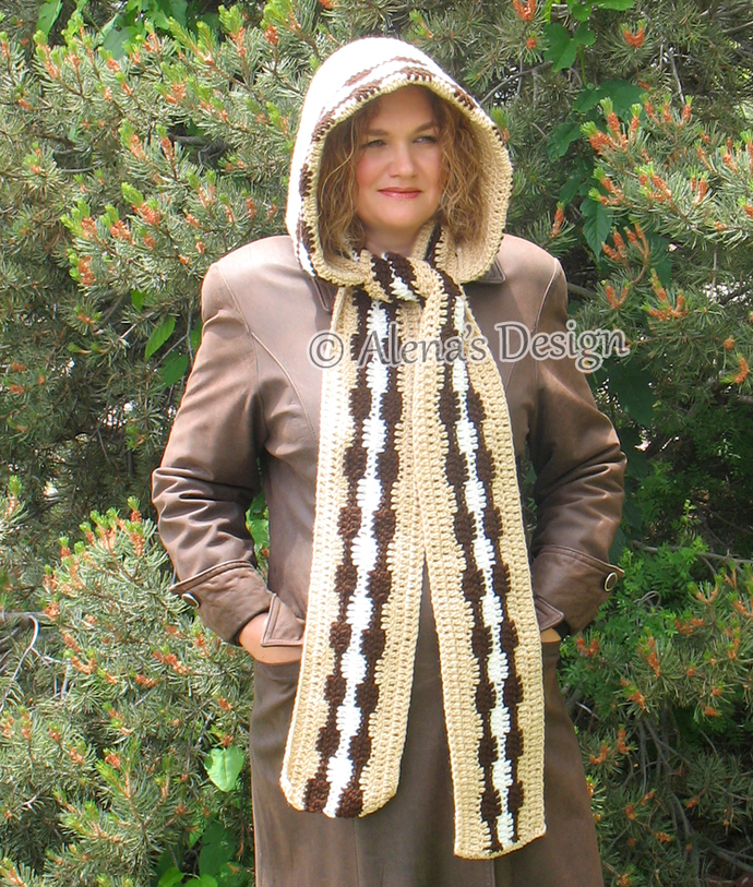 Crocheted Hooded Scarf Handmade Beige Scarf Hooded Cowl Adult Woman Ladies Wrap