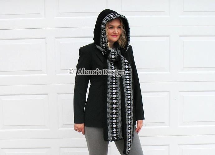 Crocheted Hooded Scarf Handmade Black Scarf Hooded Cowl Adult Woman Ladies Wrap