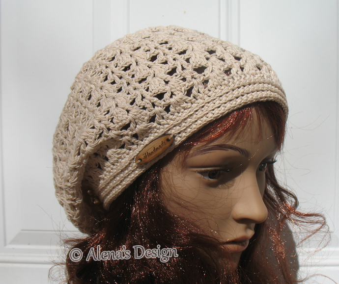 Lace Slouchy Beanie Hat Ladies Women Handmade Crocheted Hat Beret Black Beige