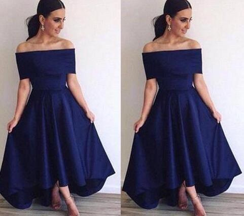 fb2a0e69443 Royal Blue Off Shoulder Evening Dresses A Line Backless Hi Lo Style Simple  Prom