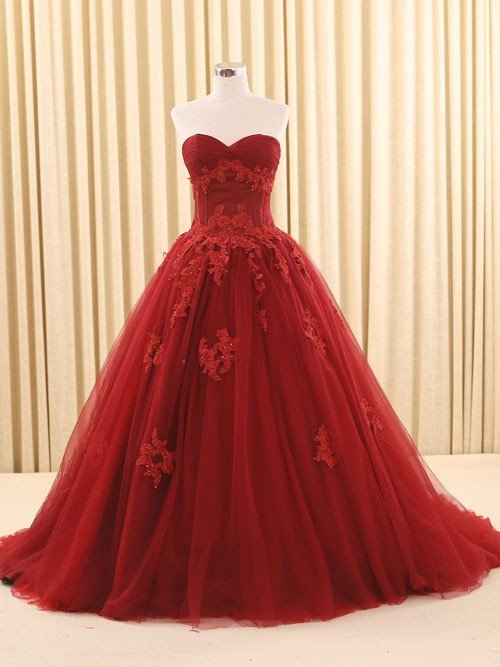 Custom Made Burgundy Tulle Wedding Dress, Appliques Tulle Wedding Dress, Bridal