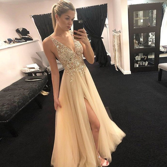 A-Line V-neck Floor-Length Beading Top Prom Dresses With Split