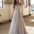 New A-line Floor-length Sexy Silver Spaghetti Straps Beaded Side Split long Prom