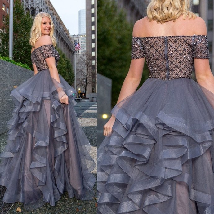New Arrival off-shoulder grey organza beading Floor-length Party dress, long