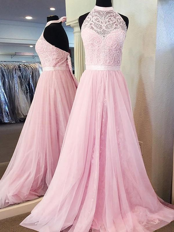 A-line Halter Sleeveless Tulle Lace Pink Backless Prom Dresses With Train