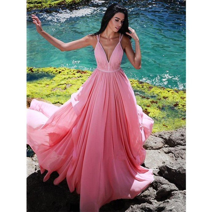 Gorgeous V-Neck Sleeveless Pink Long Prom Dress