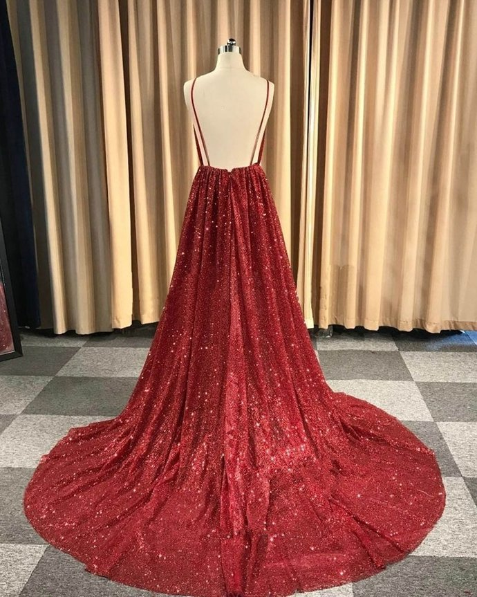 V-Neck Spaghetti Straps Red Sequins Long Prom Dress With Pleats