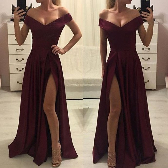 Off-shoulder Burgundy High Split Simple Cheap Prom Dress