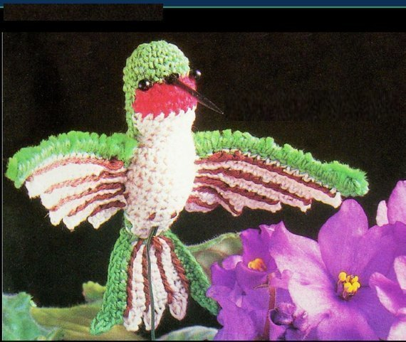 Instant PDF Digital Download Vintage Crochet Pattern 9-10 cm Hummingbird Soft