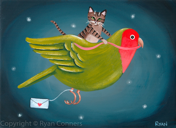 The Valentine Delivery Lovebird and Cat Original Folk Art Acrylic Painting