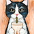 Tuxedo Cat and Iced Latte Original Folk Art Acrylic Painting