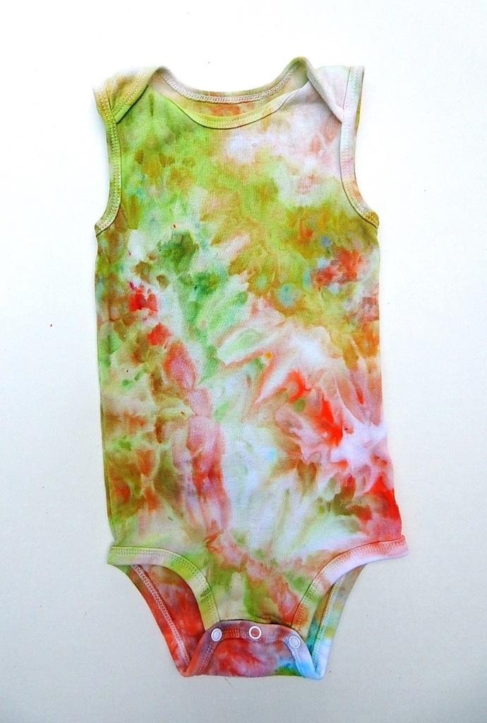 Baby's Sleeveless Bodysuit - Ice-dyed Toddler's Bodysuit - Shades of Orange,