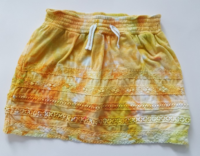 Girl's Ice Dyed Skirt, Yellow and Oranges, Great Spring or Summer Outfit, Size