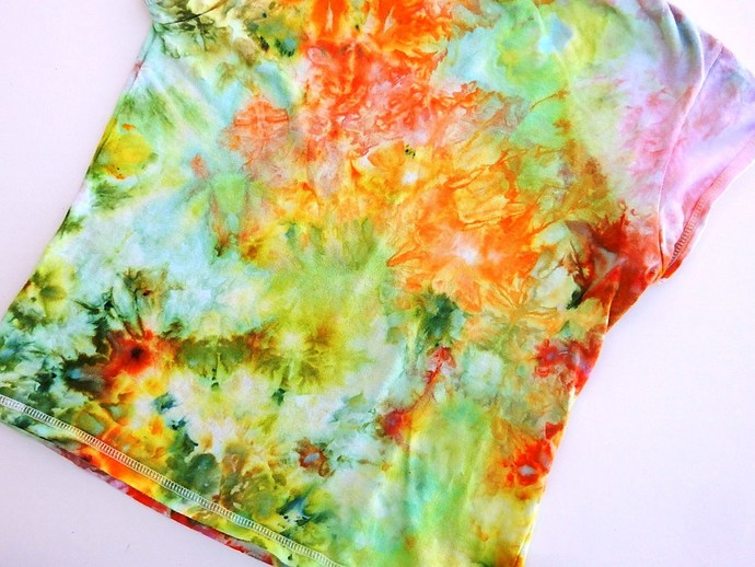 Girl's Ice Dyed Summer Top, Ice Dyed Cap Sleeve Top,  Shades of Yellow, Green