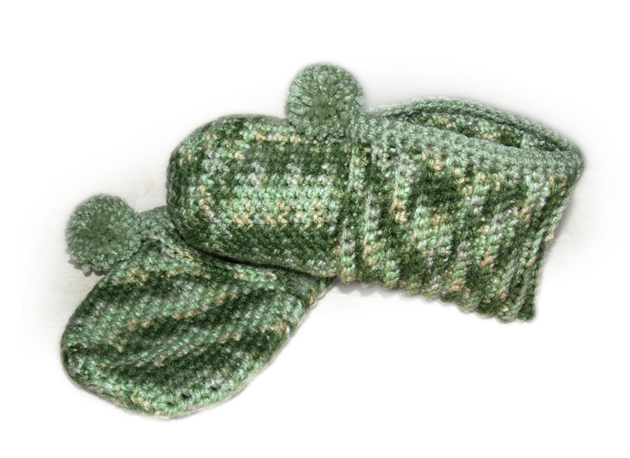 Crocheted Slippers, Green Camouflage, Camo Slippers, Slippers for Hunters,