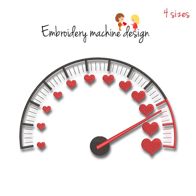 Valentine's day embroidery machine designs speedometer wedding pattern heart