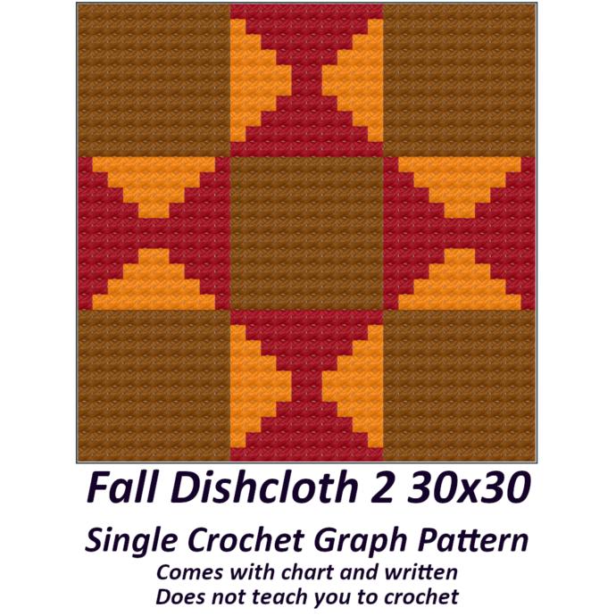 Fall Dishcloth Crochet Graph Pattern 30x30