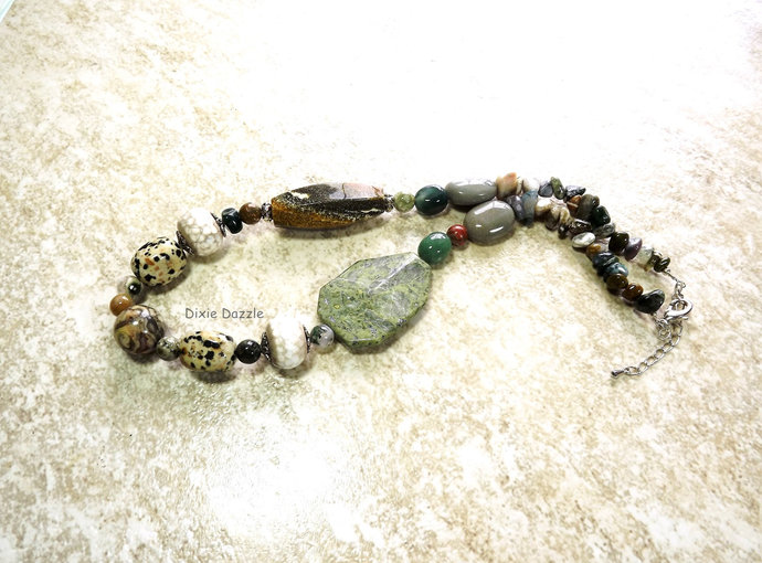 Rustic green necklace, green necklace, natural stone jewelry, jasper, Fall