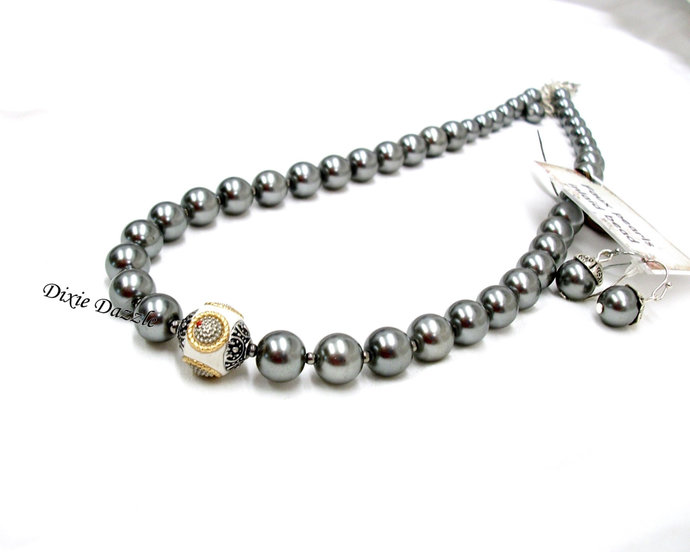 Grey necklace set, gray pearl necklace, gray jewelry, jewelry set, large clasp,