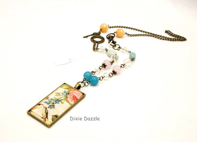 Vintage art pendant, asymmetrical necklace, semiprecious gemstones, domino