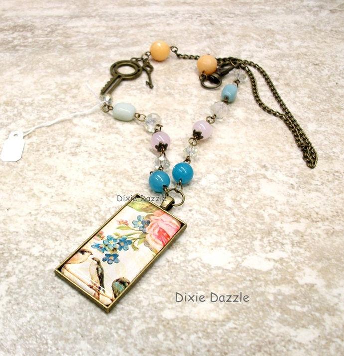 Vintage art pendant, asymmetrical necklace, semiprecious gemstones, domino