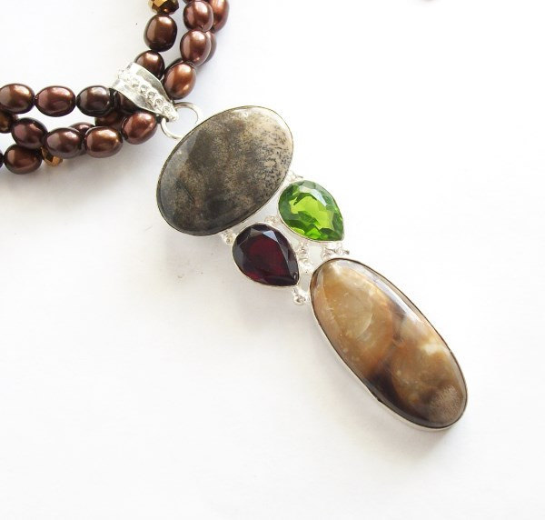Statement necklace Multistrand chocolate freshwater pearl necklace with sterling