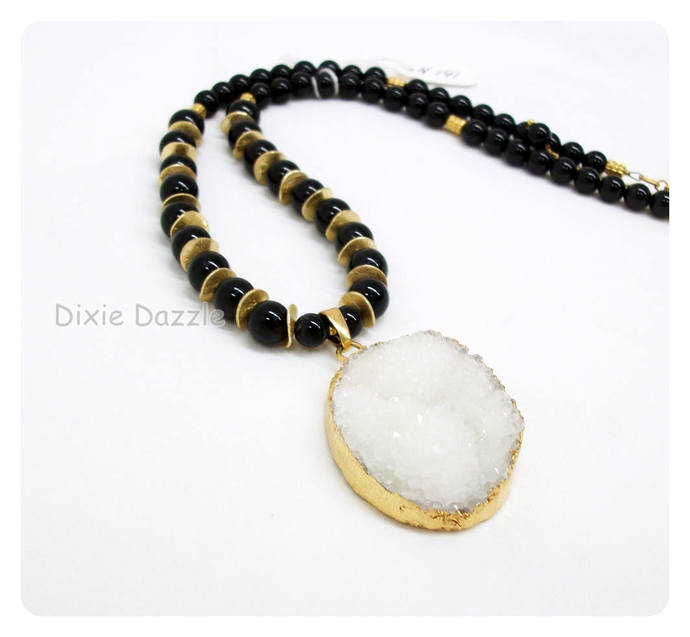 Dinner date White druzy pendant necklace with earrings, black onyx semiprecious