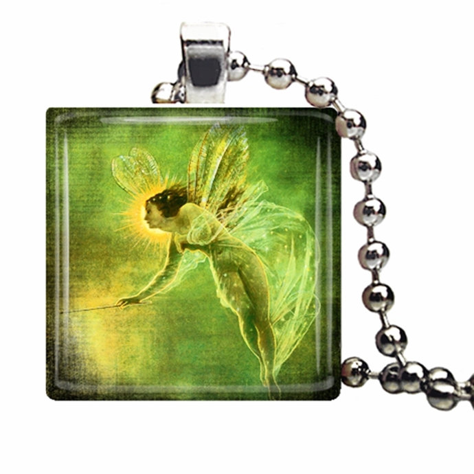Woodland fairy jewelry, fairy art, faerie, green art pendant, green necklace,