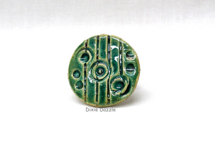 One of a kind Handmade ceramic ring, green textured ring, emerald green,