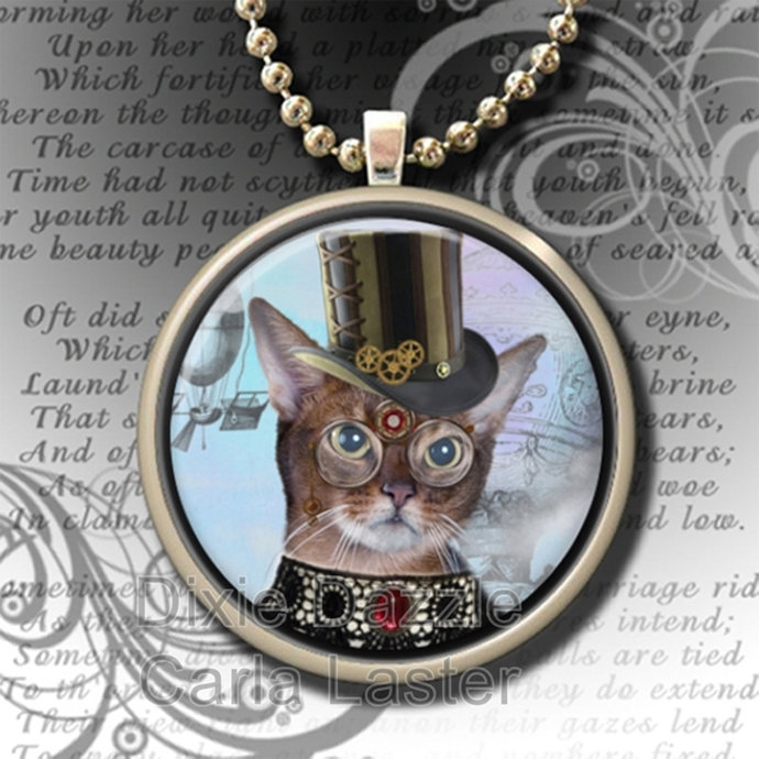 Steampunk pendant, cat with hat, bronze pendant necklace, vintage style art