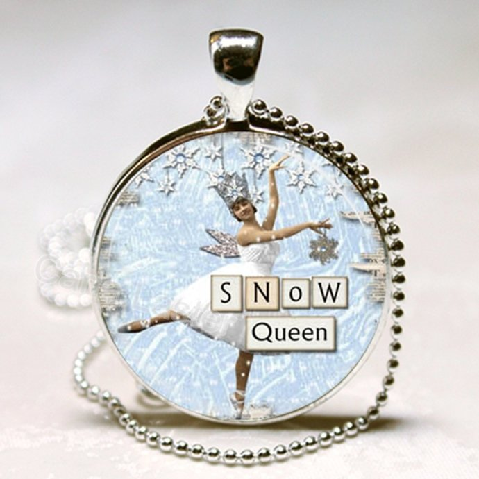 Ice skater pendant, Snow Queen, winter jewelry, snow scene, silver and blue,