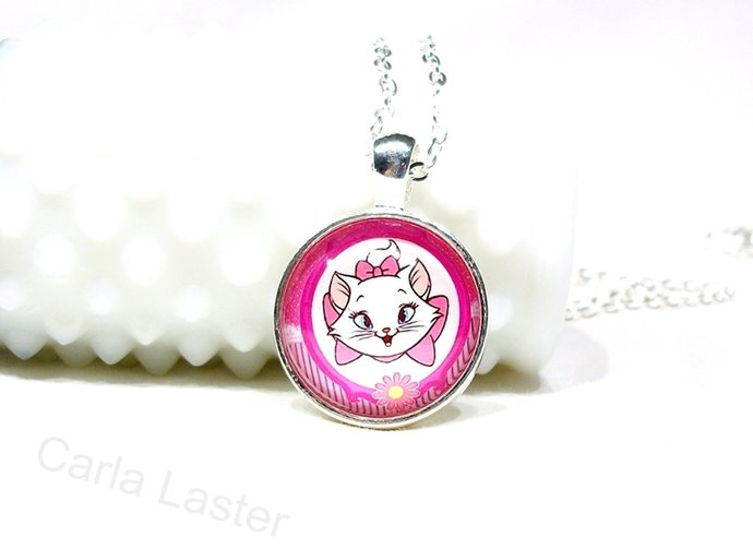 Girl's necklace with pink kitty, aristocat theme necklace,cat art pendant