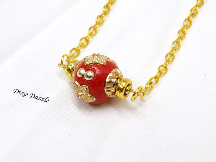 Red and gold necklace, minimalist style jewelry,  Red inlaid bead with premium