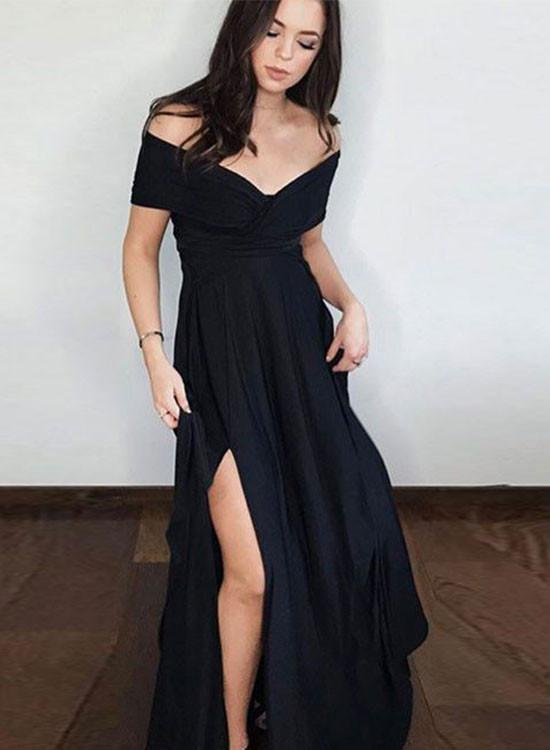 5c8884577bba Black A line off shoulder long prom dress, by PrettyLady on Zibbet