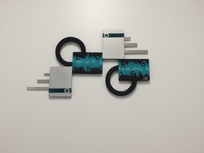 "Abstract Wall hangings, Peacock Teal Silver Wall decor, Unique Wall art, 28"" x"